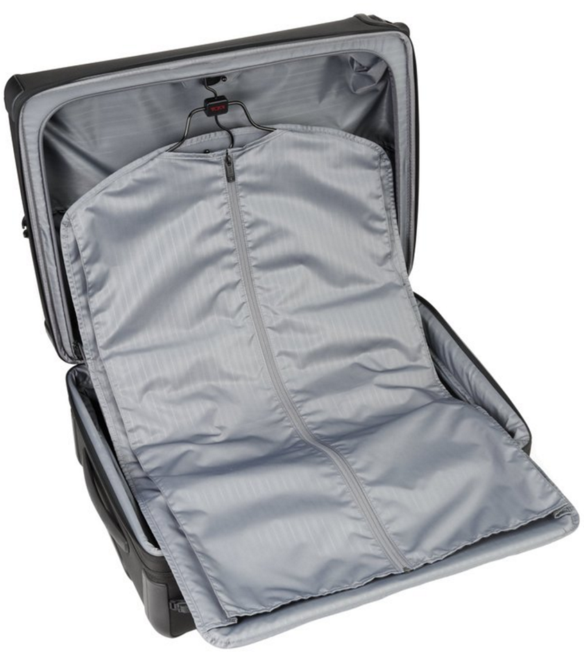 tumi alpha 2 open view with suit hanger