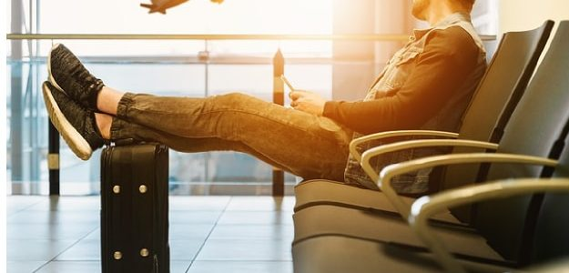 Man waiting on an airport