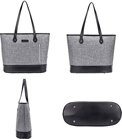 Grey and black tote bag
