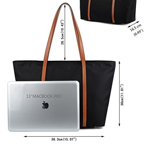 Black tote bag and a macbook
